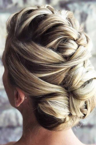 Updo French Braids Hairstyles Bun #braids #bun
