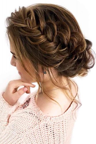 Updo Side French Braids Hairstyles #braids #updo