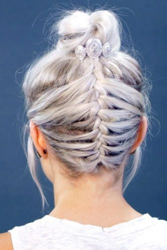 Upside Down French Braid with Topknot
