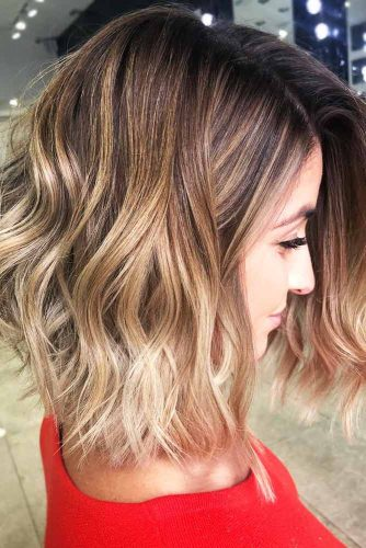 Warm Toned Layered Lob Hairstyle #brownhair #ombre #bob