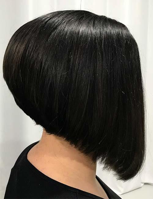 1. Black Stacked Bob