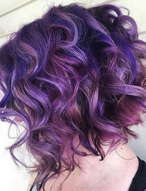 20. Curly Purple Stacked Bob