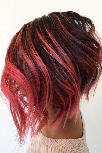 A line Bob Hairstyle #shortombrehair #balayage #shorthair #bobhaircut #pinkhair