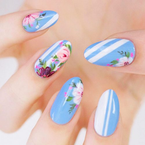 Almond Nails with Flowers Picture 1