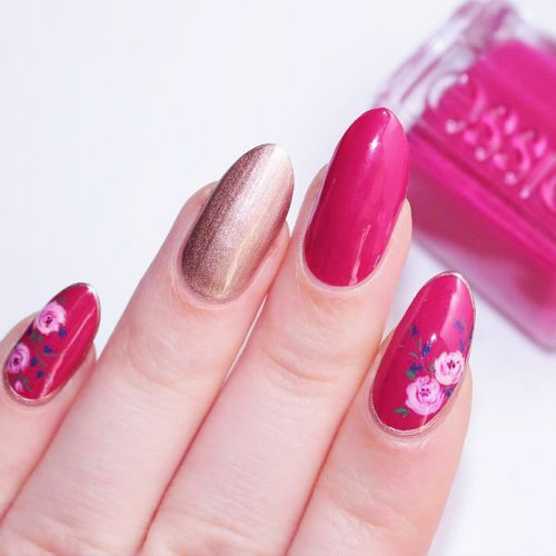Almond Nails with Flowers Picture 2