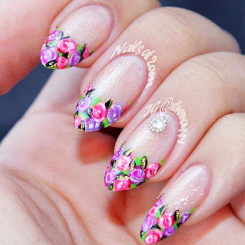 Almond Nails with Flowers Picture 3