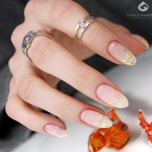 Almond Ombre Nail Design #glitterombre