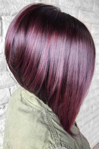 Amazing A-line Bob For Straight Hair #inveretedbob #alinebob #purplehair #straighthair