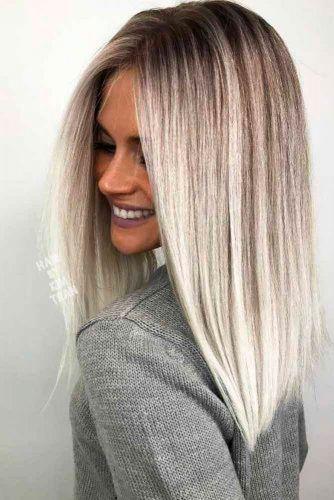 Ash Blonde Ombre Blunt Sharp Bob Haircut #pmbrehair #blondeombre #bluntbob