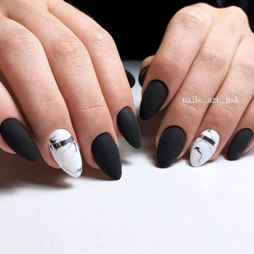 Black Matte Design For Almond Nails #blackmattenails