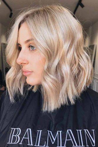 Blonde A-line Medium Length Haircuts  #mediumlengthhaircuts #mediumhair #haircuts #longbob