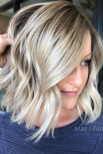 Blonde Balayage and Wavy A-Line Bob #invertedbob #alinebob #platinumblonde #blondehighlights