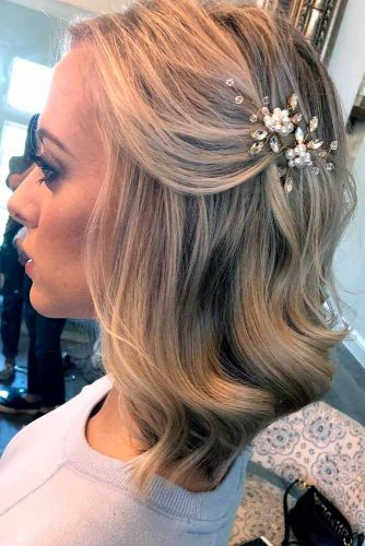 Blonde Half Up With Accessory #blondehair #halfup