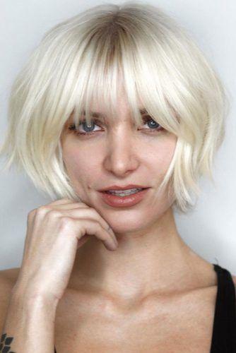 Blonde Layered Bob With Bangs #shorthaircuts #bobhaircut #layeredhaircut #haircuts