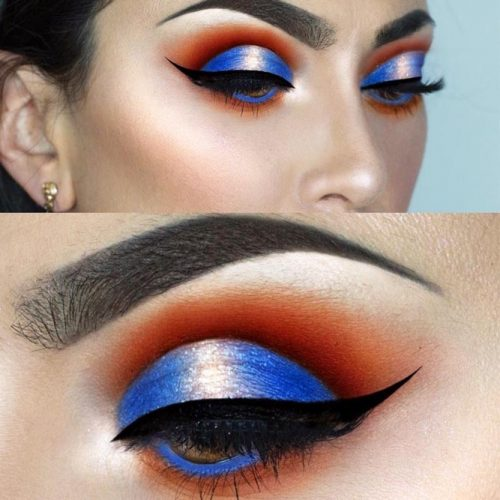 Blue Cut Crease Makeup For Amber Colored Eyes #buecutcrease #smokey
