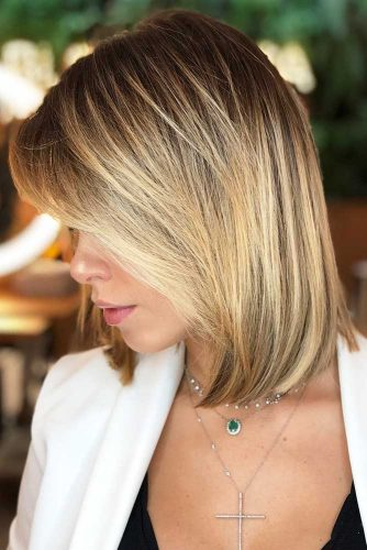 Blunt Lob With Highlights #blondehair #highlights #bob