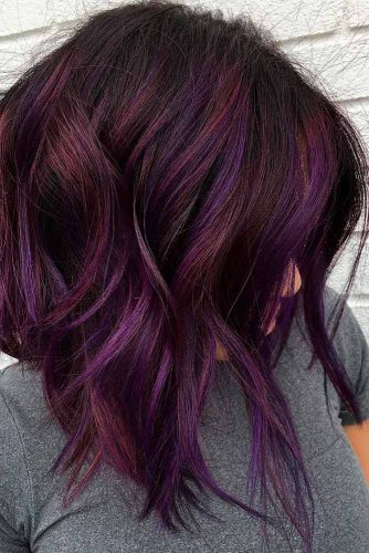 Brown Curls with Lilac Highlights