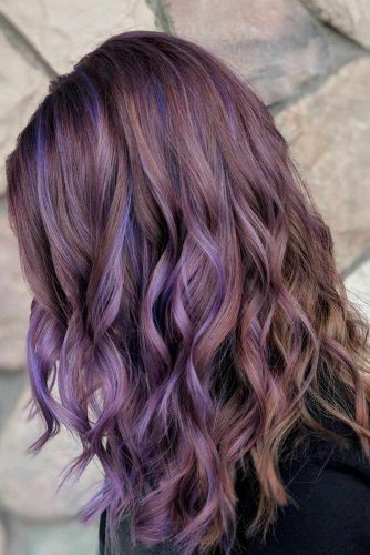 Brown Hair With Purple Highlights #ashhair #purplehair