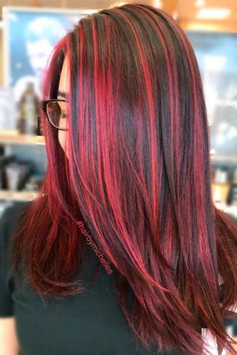Brown Hair With Red Highlights #redhighlights #darkbrownhair