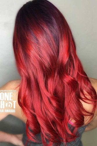 Brown To Red Ombre Hair #redombre #curlyhair