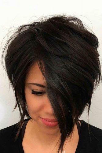 Brunette Layered Asymmetrical Bob #asymmetricalbob #brunettehair