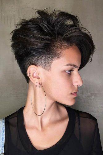 Brunette Pixie Layered Haircut #layeredhaircuts #layeredhair #haircuts #pixiehaircuts