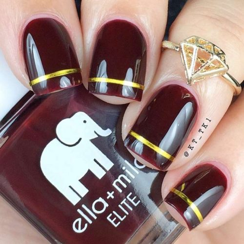 Burgundy And Gold Stripes Nail Designs #shortnails #squarenails