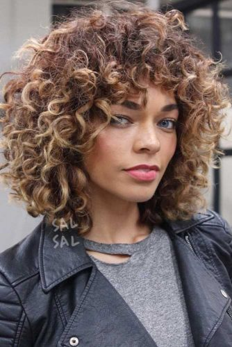 Caramel Blonde Balayage Short Curly Hair
