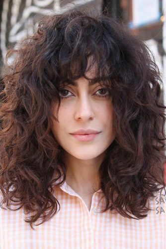 Curly Hair With Bangs #shaghairstyles #shaghaircuts #mediumlength #hairstyles #curlyhair