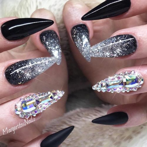 Cute Black and Silver Nails Designs picture 3