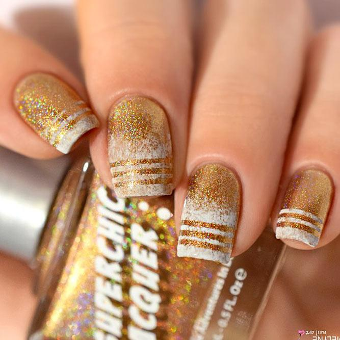 Cute Designs For Your Gold Nails Picture 1
