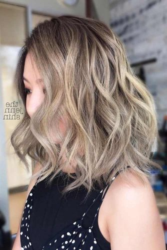 Cute Tight Curls With Ash Blonde Highlights #shoulderlengthhair #longbob #hairstyles #wavyhair #ashblondehighlights