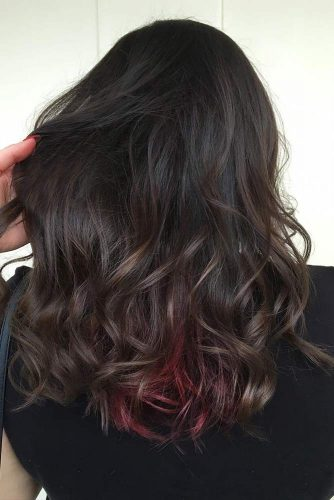 Dark Brown Hair Color with Red Locks