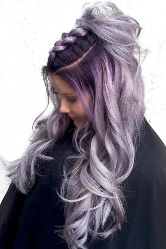 Dark Purple Roots Into Ash Hair Color #longhair #wavyhair #braids