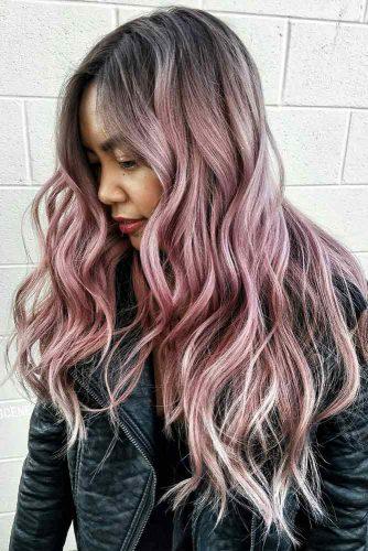 Dusty Rose Long Layered Hair #rosehair