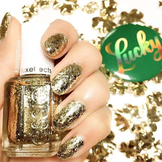 Every Day Is A Holiday With Gold Glitter Nails Picture 1