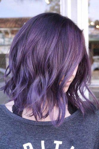 Eye-Catching Purple Bob #purplehair #wavybob #darkpurple
