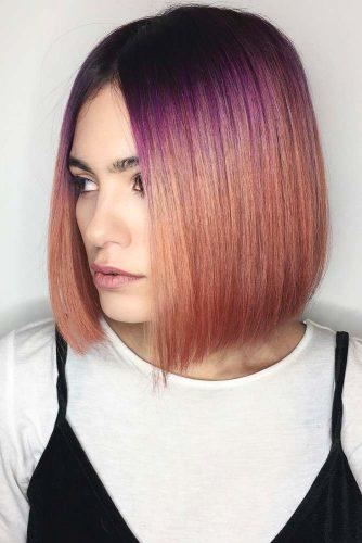 From Purple To Peach Color #shortombrehair #hairstyles #shorthair #bobhaircut #peachcolor