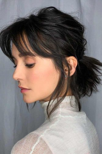 Fun Medium Length Hairstyles With Bangs #mediumlengthhairstyles #mediumhair #hairstyles #ponytail #blackhair