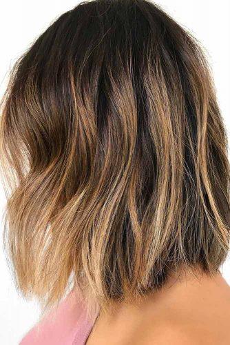 Gold Blonde Balayage Lob Dark Hair
