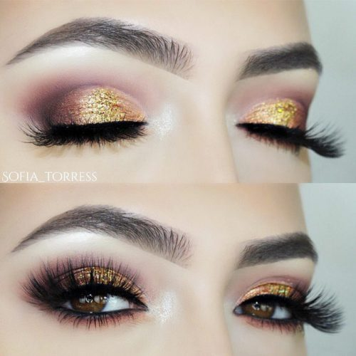 Gold Smokey Eyes Makeup Idea For Special Occasions #goldglitter #prommakeup