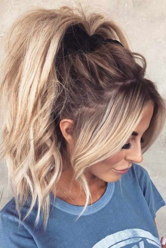 High Messy Ponytail With Bangs #hairstylesforthinhair #hairstyles #thinhair #hairtype #ponytail