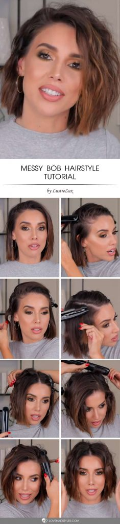 How To Messy Bob Hairstyle #shorthair #tutorial #hairstyles #bobhaircut #brownhair