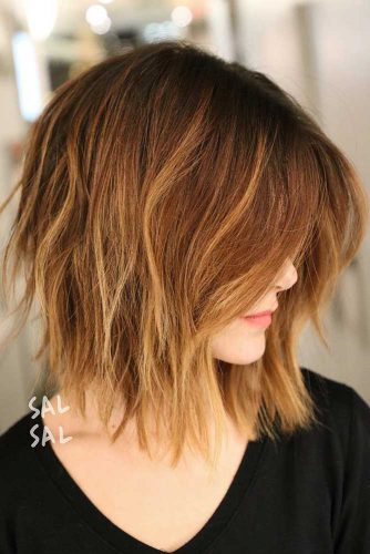 Inverted Bob with Fringe #invertedbob #blondehighlights #layeredhair #messybob