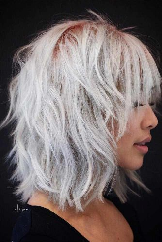 Layered Bob With Bangs #silverhair #messybob #bobhaircut