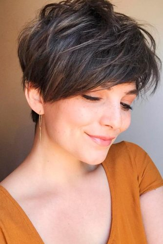 Layered Haircuts For Short Brown Hair #pixie #pixiecut #sidebang