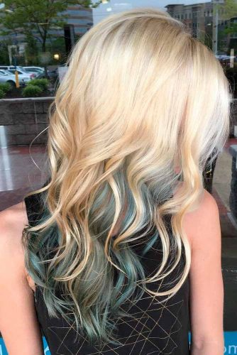 Long Blonde and Blue Layered Hair #undercoloredhair #blondehair #layeredhaircuts