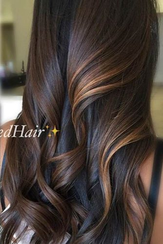 Long Brown Hair with Copper Balayage