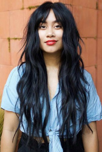 Long Choppy Shag With Thin Bangs #longhair #wavyhair #bangs #shaggy