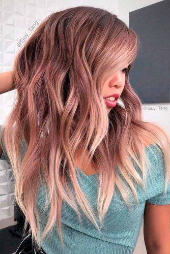 Long Layered Hairstyle With A Rose Gold Color #rosegoldhair #layeredhaircuts